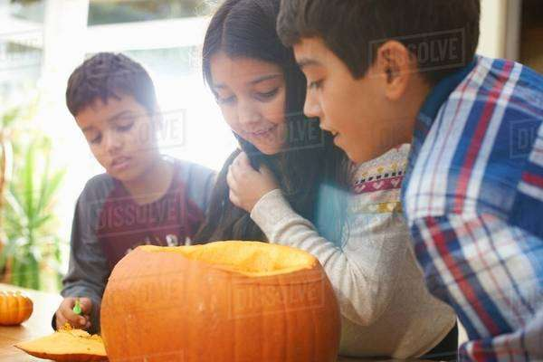 Siblings hollowing out pumpkin in dining room Royalty-free stock photo