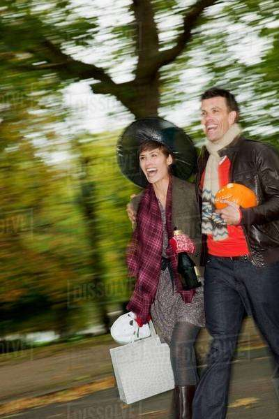Man and woman going to halloween party Royalty-free stock photo