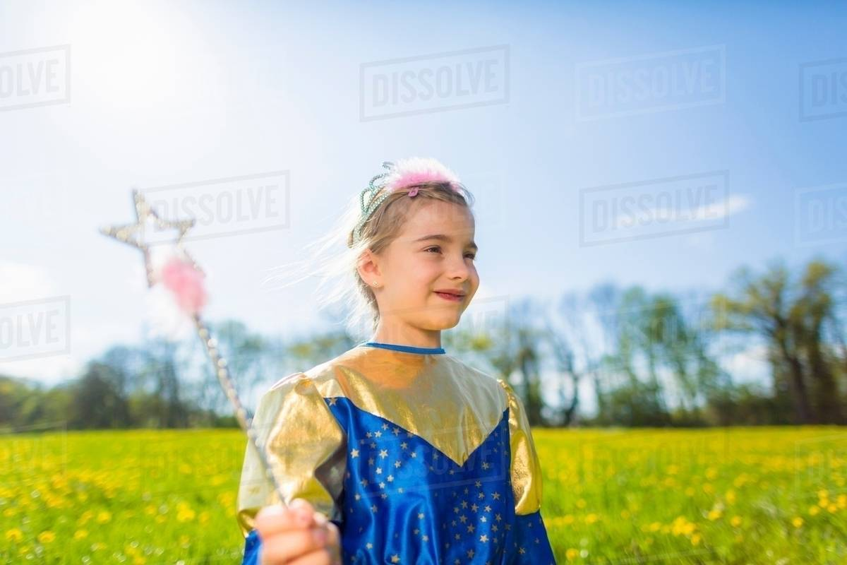 Girl wearing fairy costume outdoors Royalty-free stock photo