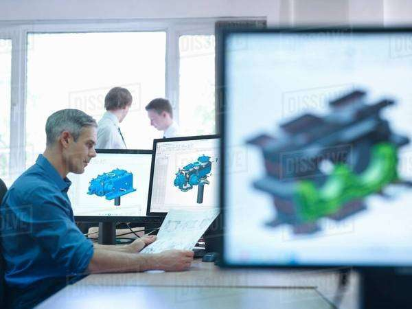 Engineer using computer aided design (CAD) Royalty-free stock photo