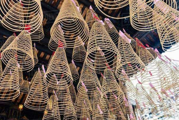 Spiral incense cones hanging in Thien Hau Temple, Ho Chi Minh city, Vietnam Royalty-free stock photo