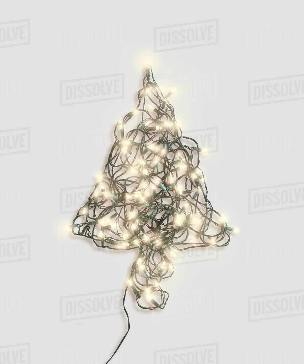 Xmas Tree Shape Made Up Of Fairy Lights Stock Photo