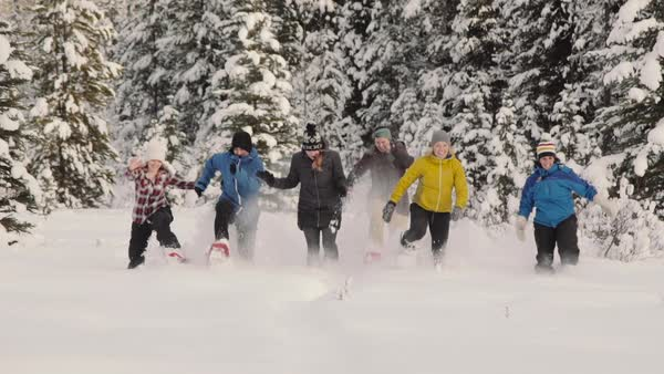 Wide-angle shot of people running in snowshoes Royalty-free stock video