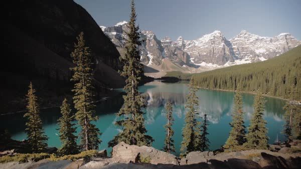Static shot view of Moraine Lake, Alberta, Canada Royalty-free stock video