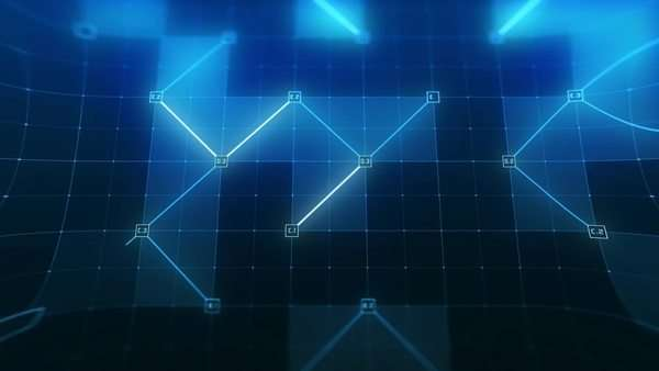 Animation of futuristic elements, lines and grids on a motion background with a blur vignette, HUD version. Royalty-free stock video