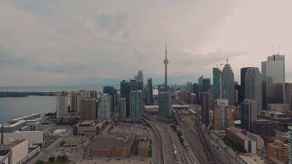 Aerial views of downtown Toronto, Ontario, Canada, zoom in Royalty-free stock video