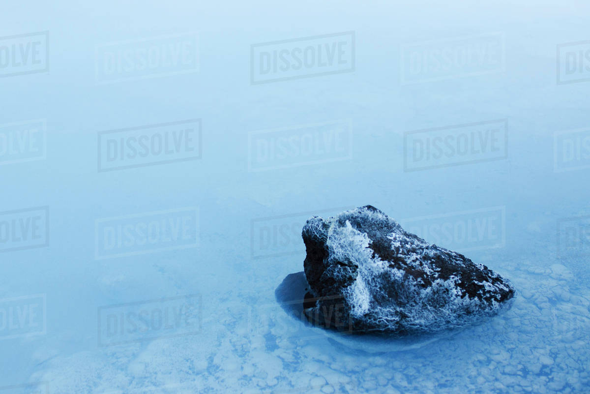 Volcanic rock covered in silica mineral deposits, Blue Lagoon, Reykjanes  Peninsula, Iceland stock photo