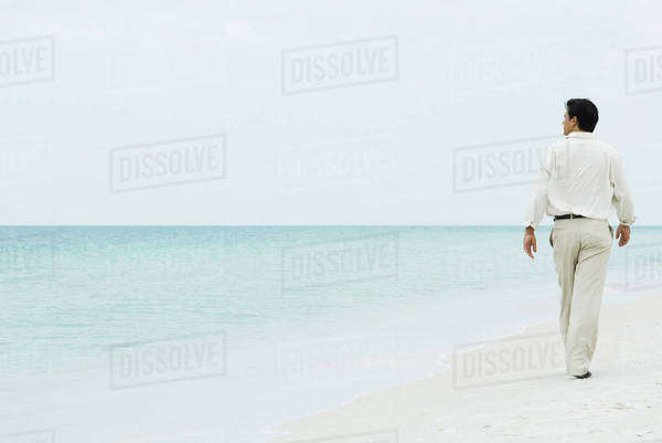 Man walking across beach, looking at distance, full length, rear view Royalty-free stock photo