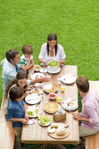 Family and friends gather for weekend picnic Royalty-free stock photo