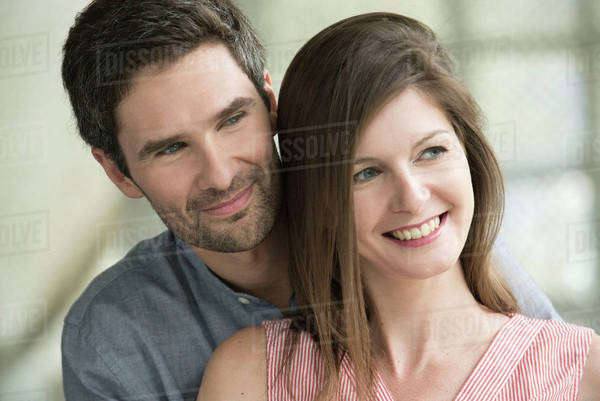 Couple smiling together, portrait Royalty-free stock photo