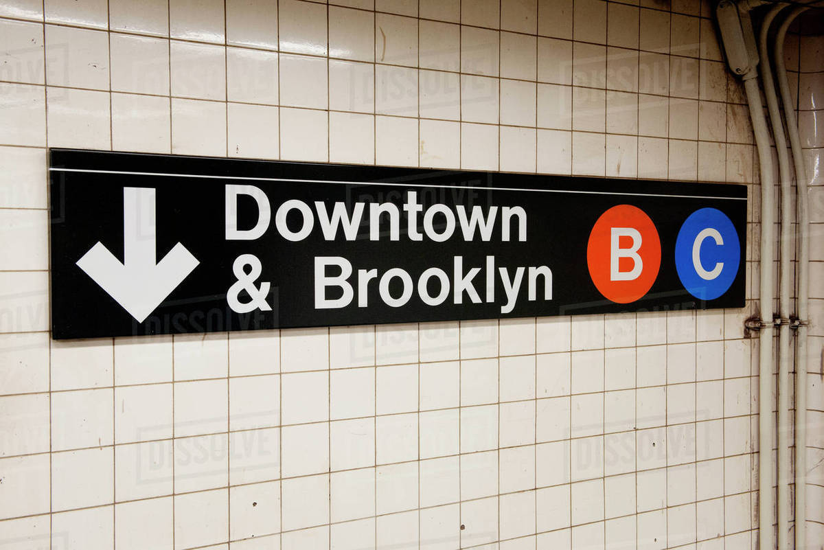 Sign in subway station, Manhattan, New York City, New York, USA Royalty-free stock photo