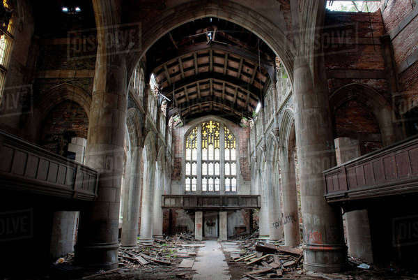 City Methodist Church, an abandoned gothic church in Gary, Indiana, USA Royalty-free stock photo