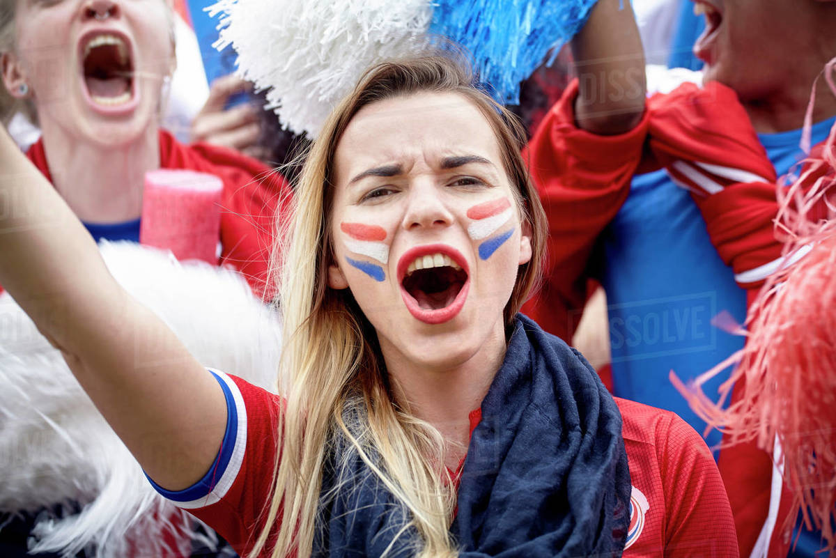 French Football Fan Cheering At Match Portrait Stock Photo Dissolve