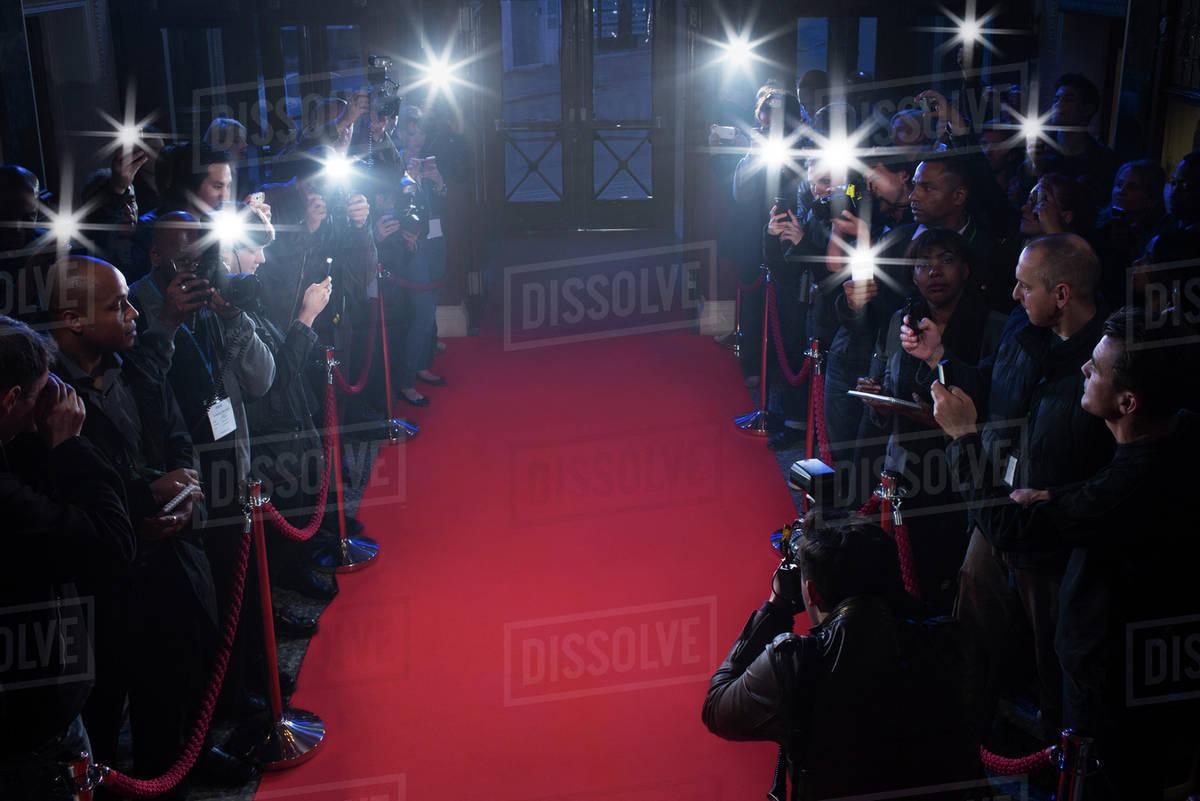 Paparazzi waiting on red carpet Royalty-free stock photo