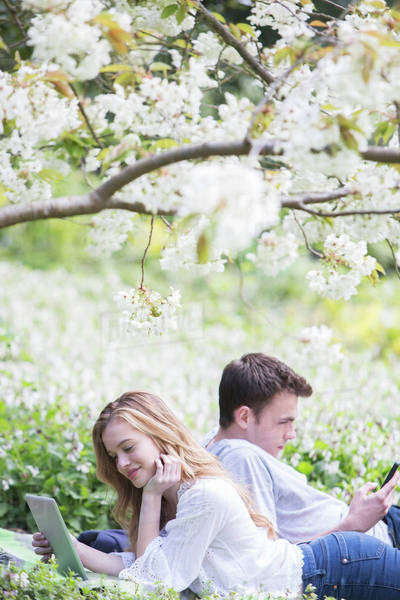 Couple using digital tablet and cell phone in park Royalty-free stock photo