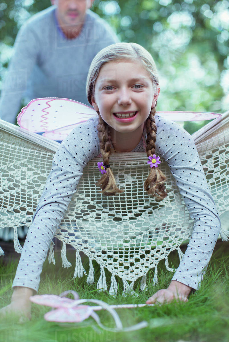 Smiling girl laying in hammock Royalty-free stock photo