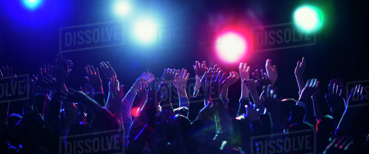 Crowd cheering at concert Royalty-free stock photo