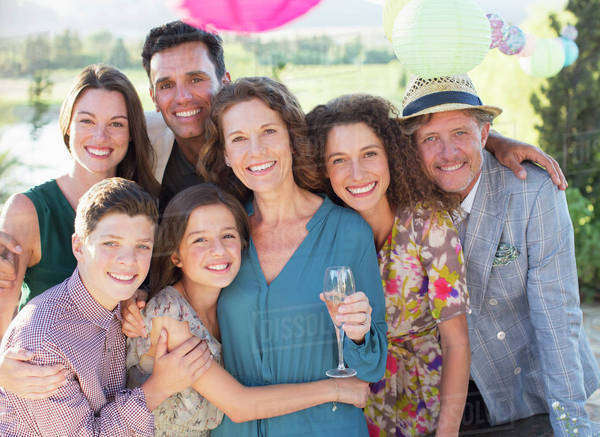 Family hugging outdoors Royalty-free stock photo