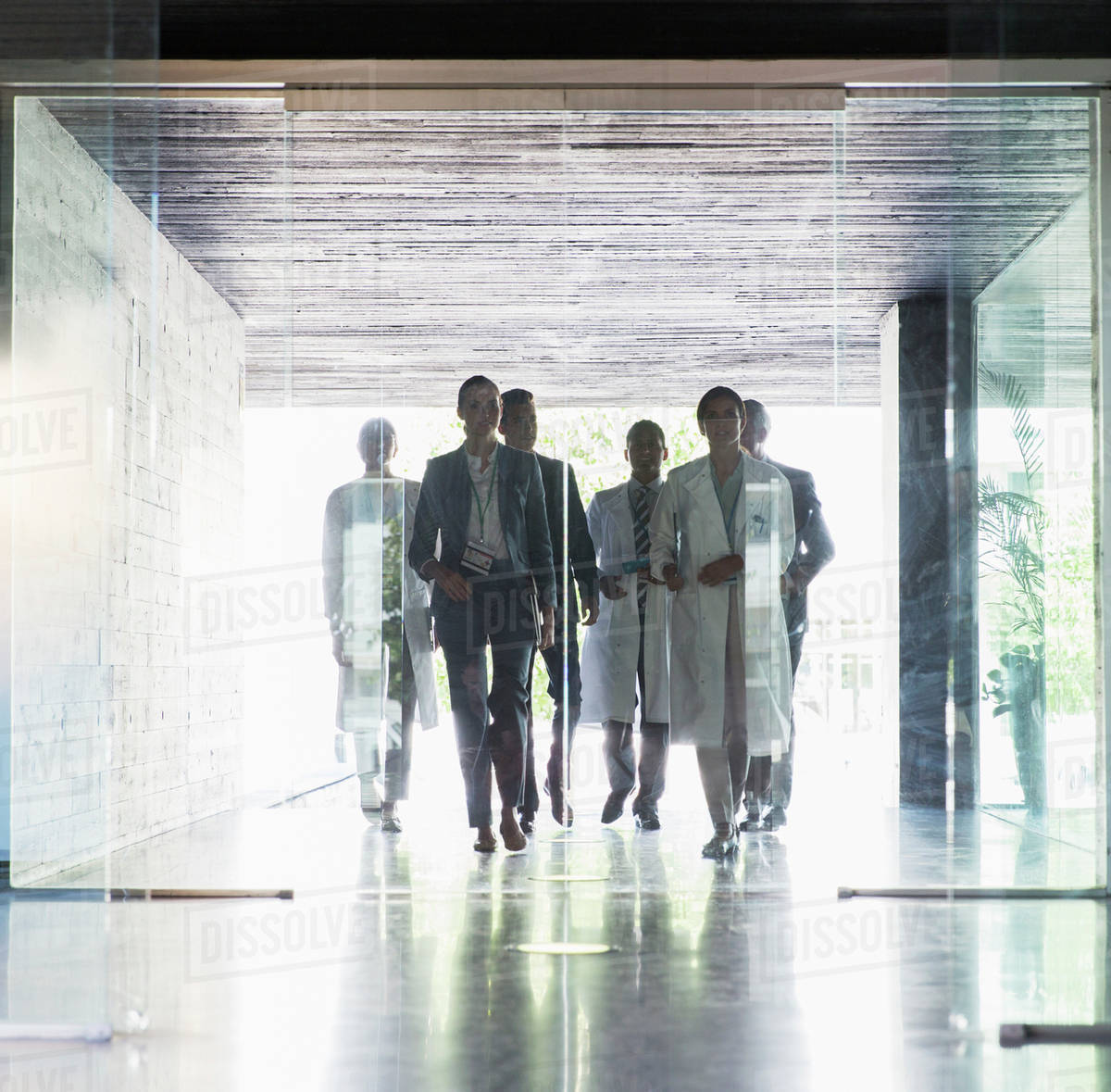 Scientists and business people approaching glass doors Royalty-free stock photo