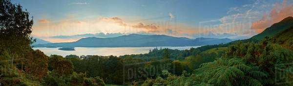 Tranquil scenic panoramic view of Derwentwater Lake at sunrise, Lake District, Cumbria, England Royalty-free stock photo
