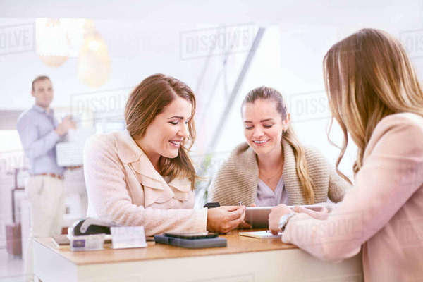Women shopping for rings in jewelry store Royalty-free stock photo