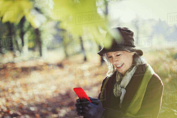 Smiling senior woman using cell phone in sunny autumn park Royalty-free stock photo