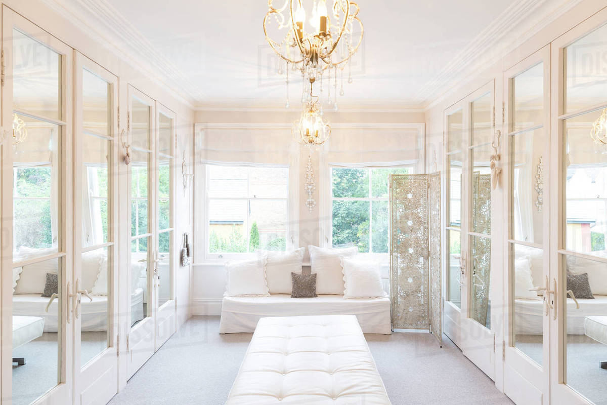 White Luxury Home Showcase Interior Dressing Room With