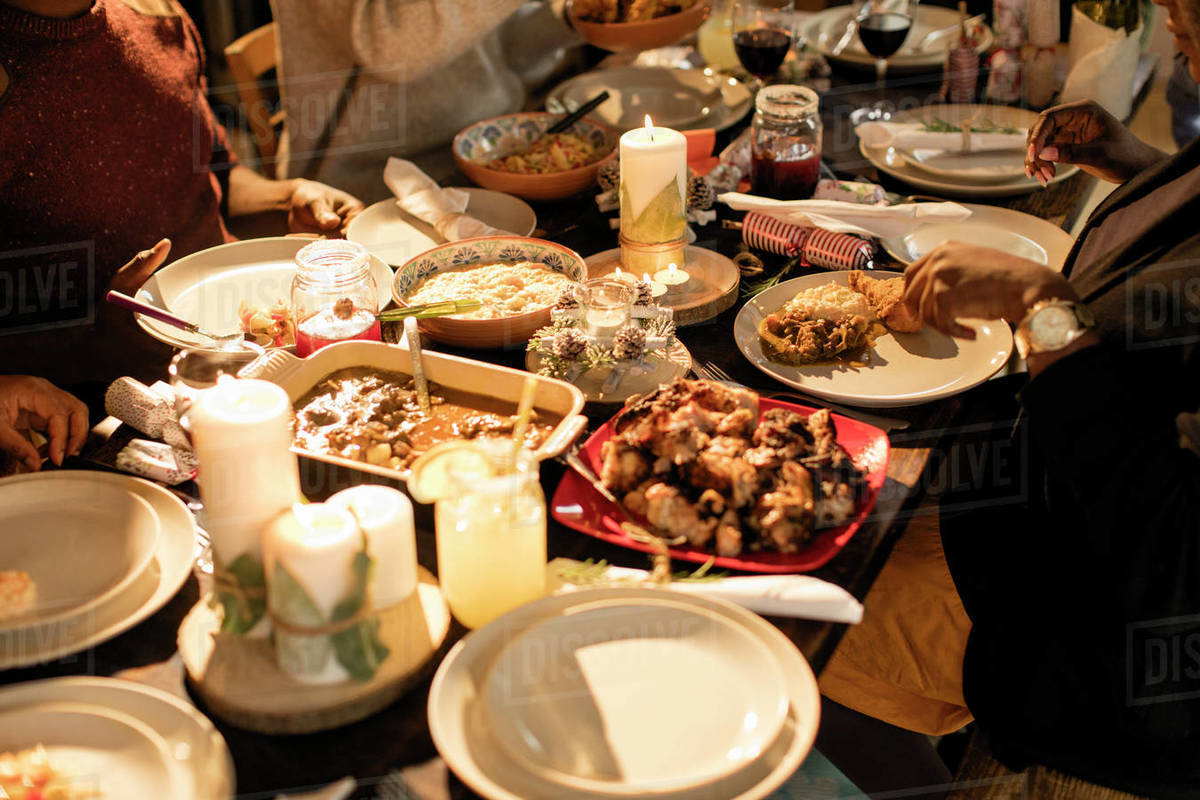 Caribbean Food On Christmas Dinner Table Stock Photo Dissolve