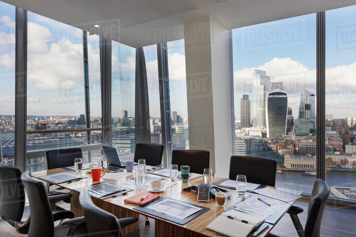 Modern conference room overlooking city, London, UK Royalty-free stock photo