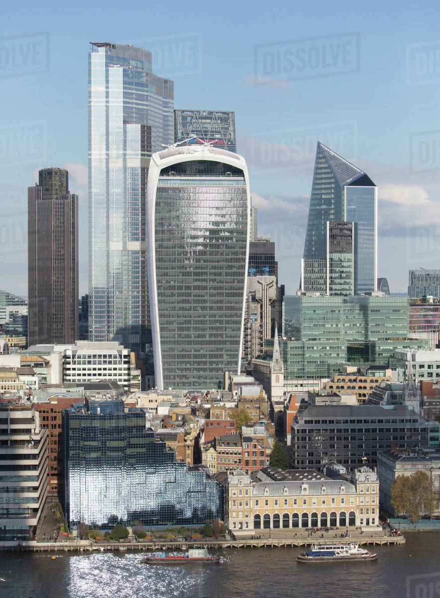 View sunny highrise buildings and cityscape, London, UK Royalty-free stock photo