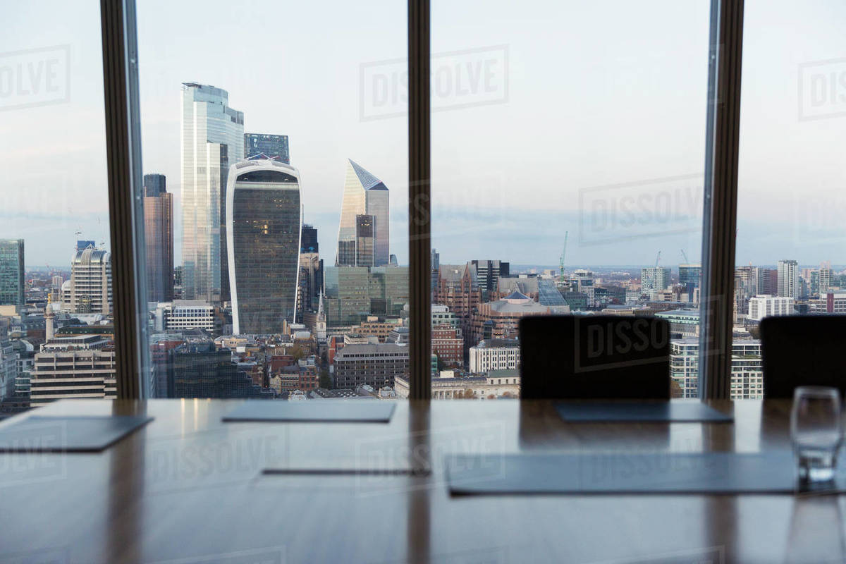 Cityscape view from highrise conference room, London, UK Royalty-free stock photo