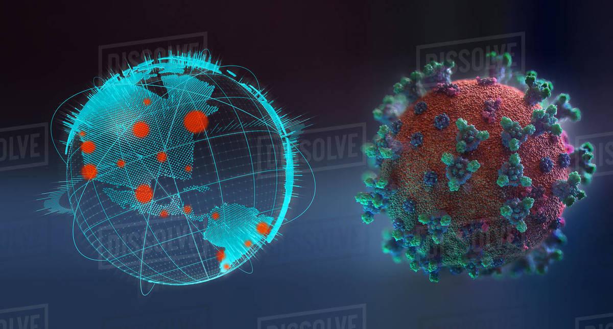 Coronavirus next to pandemic outbreaks on globe Royalty-free stock photo