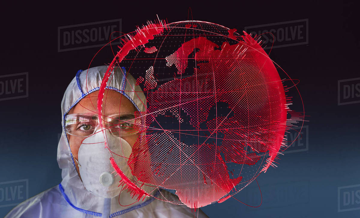 Portrait male scientist in flu mask next to pandemic outbreak globe Royalty-free stock photo