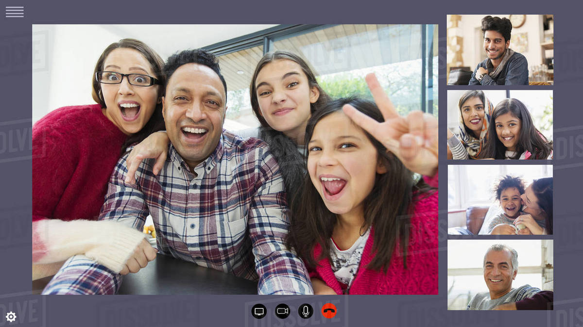 Happy family and friends video conferencing during COVID-19 quarantine Royalty-free stock photo