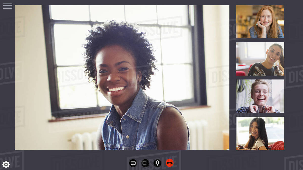 Happy young women friends video conferencing in COVID-19 quarantine Royalty-free stock photo