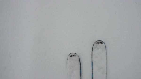 Point-of-view shot of a skier trudging through snow Royalty-free stock video