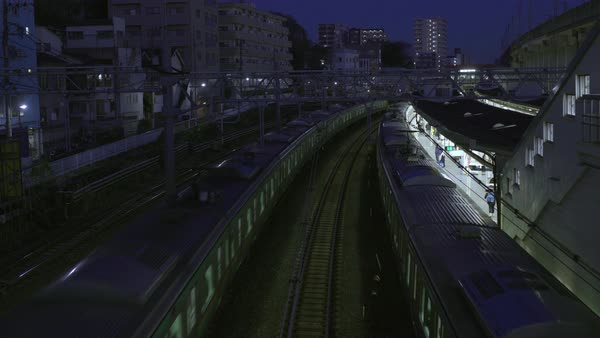 Static shot of a train station in Japan Royalty-free stock video