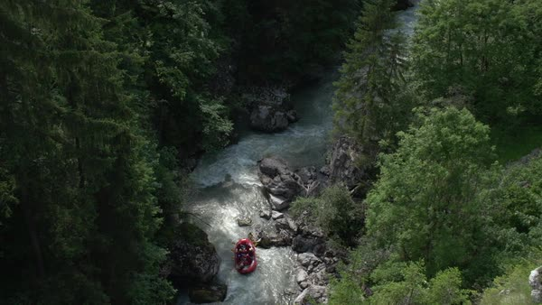Hand-held shot of a group of people white water rafting in Switzerland Royalty-free stock video