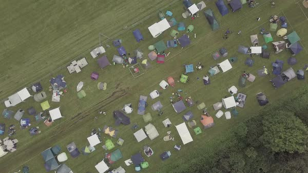 Aerial shot of tents at a music festival in Germany Royalty-free stock video