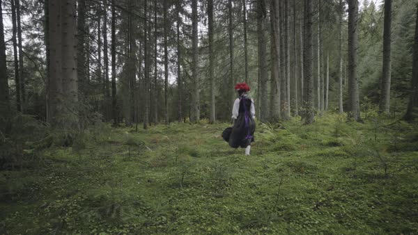 Static shot of a woman wearing traditional German clothes skipping in a forest Royalty-free stock video