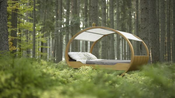 Tilt-up shot of a canopy swing bed in a forest Royalty-free stock video