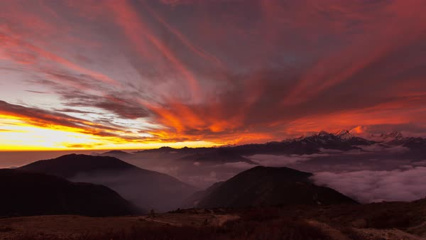 Timelapse of mountain peaks at sunset Royalty-free stock video