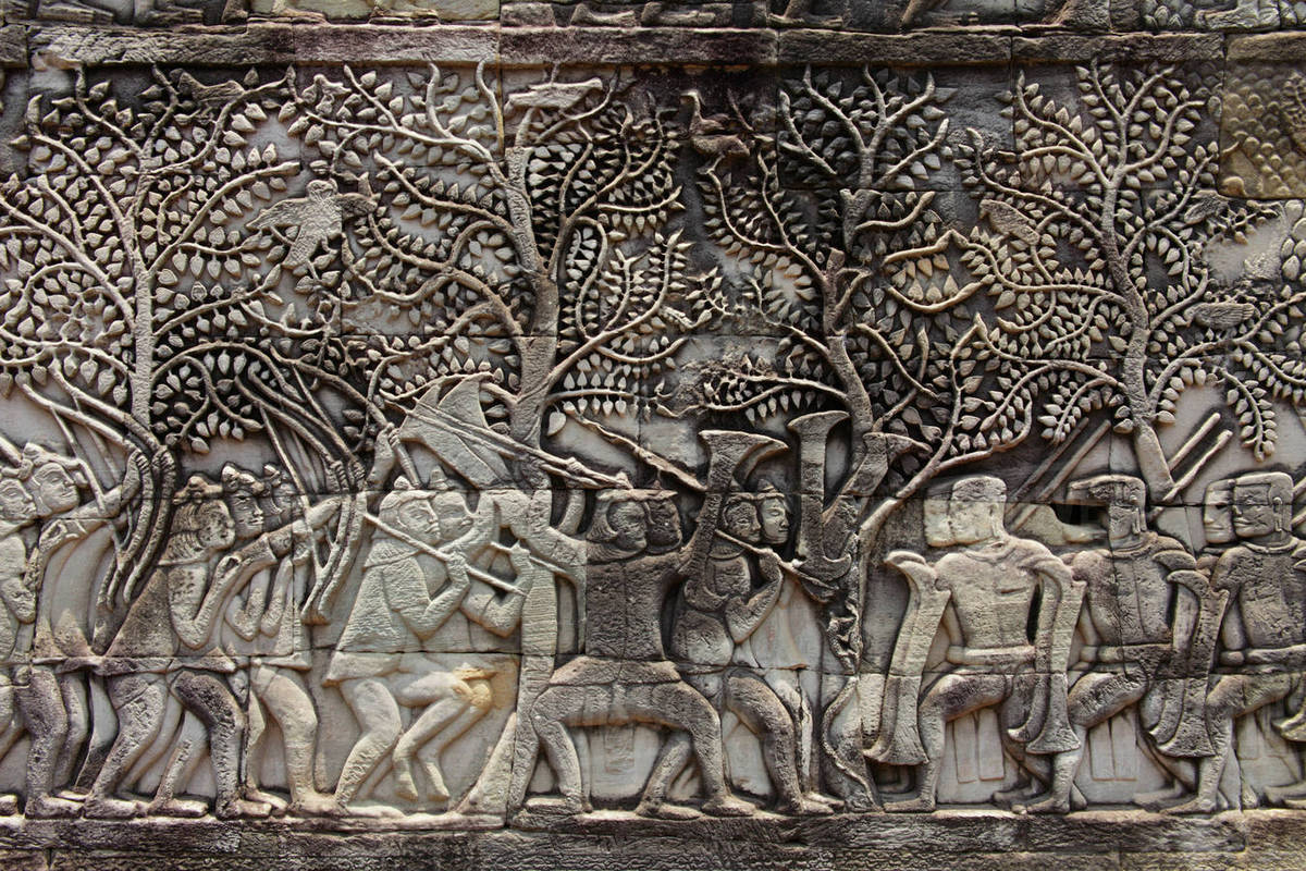 Stone carvings on the wall of angkor wat camobia stock photo