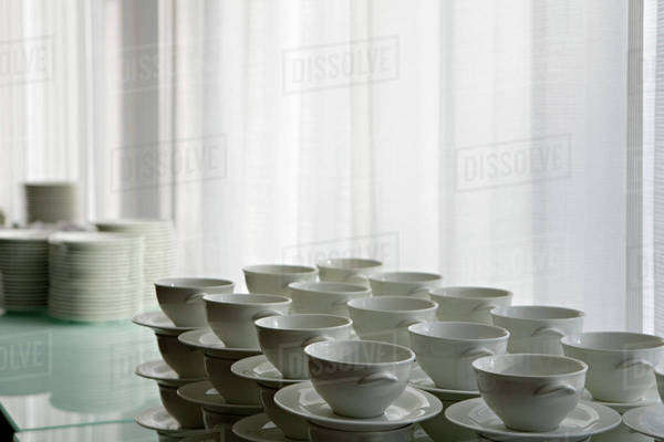 Stacks of cups and saucers Royalty-free stock photo