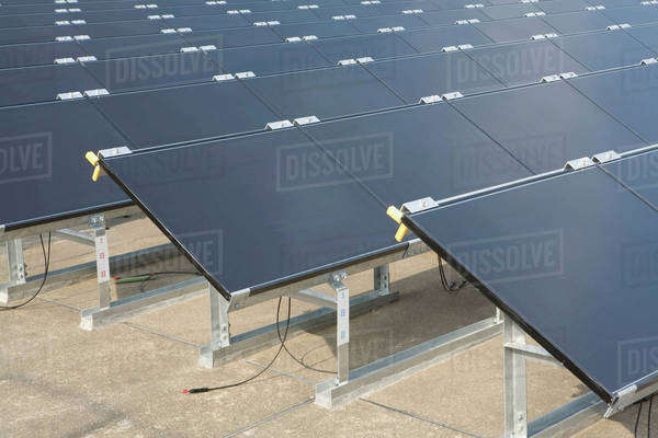 Detail of solar panels in rows Royalty-free stock photo