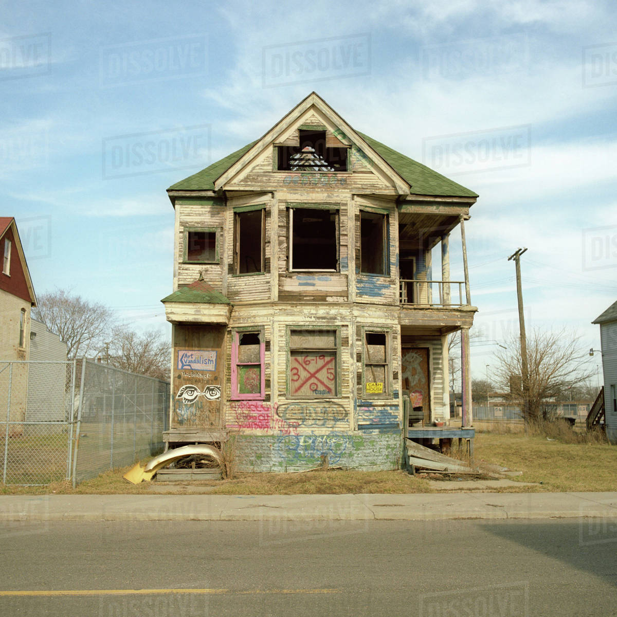 A Run-down, Abandoned House With Graffiti On It, Detroit