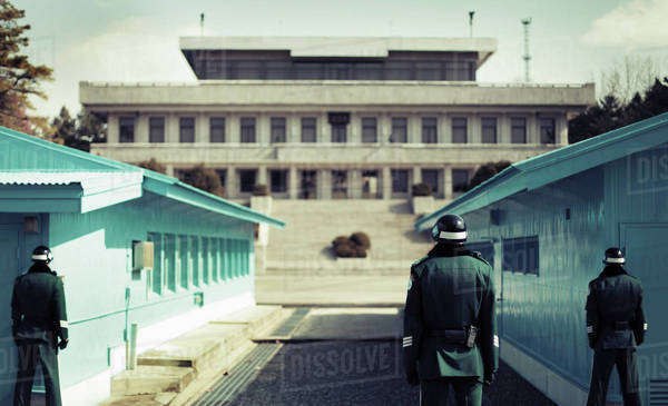 Rear view of soldiers standing at Korean Demilitarized Zone, South Korea Royalty-free stock photo