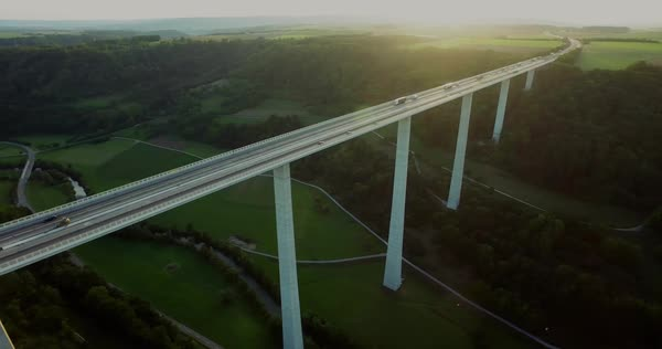 Aerial drone shot of Kocher Viaduct over green landscape, Baden-Wuerttemberg, Germany Royalty-free stock video