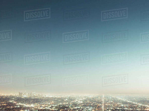 Aerial view of illuminated cityscape against blue sky, Los Angeles, California, USA Royalty-free stock photo