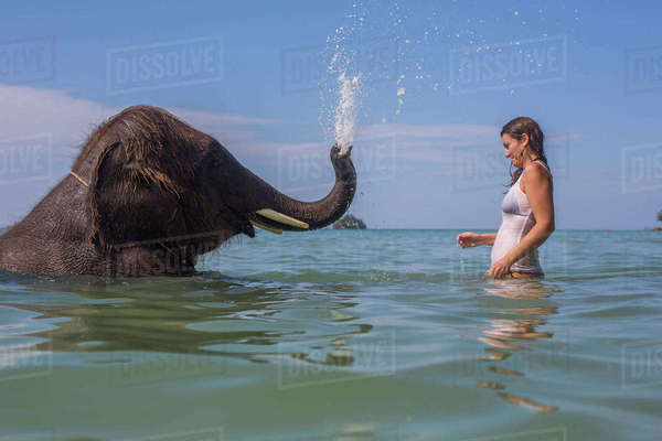 Side view of elephant splashing a woman in water Royalty-free stock photo